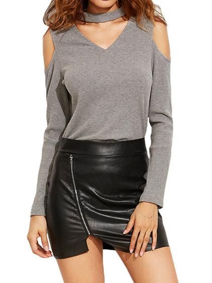 Chicnico Sexy Cut Out Plunge V Neck Choker Collar Top