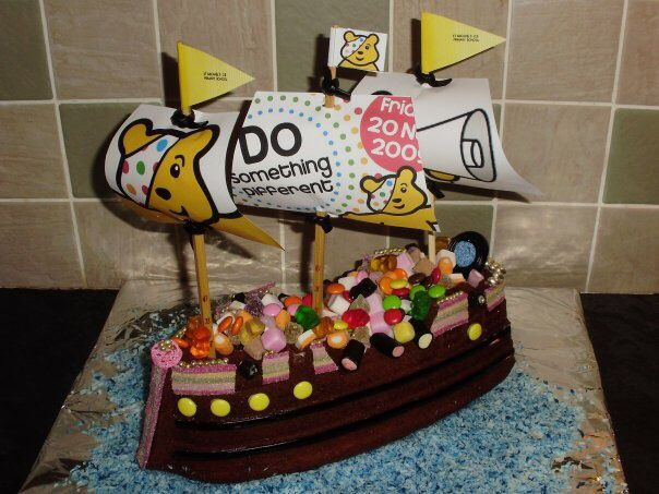 Children in need cake boat, with a sweet cargo..raffle prize.