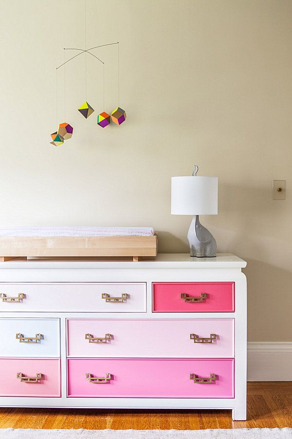 Eclectic nursery with ombre dresser