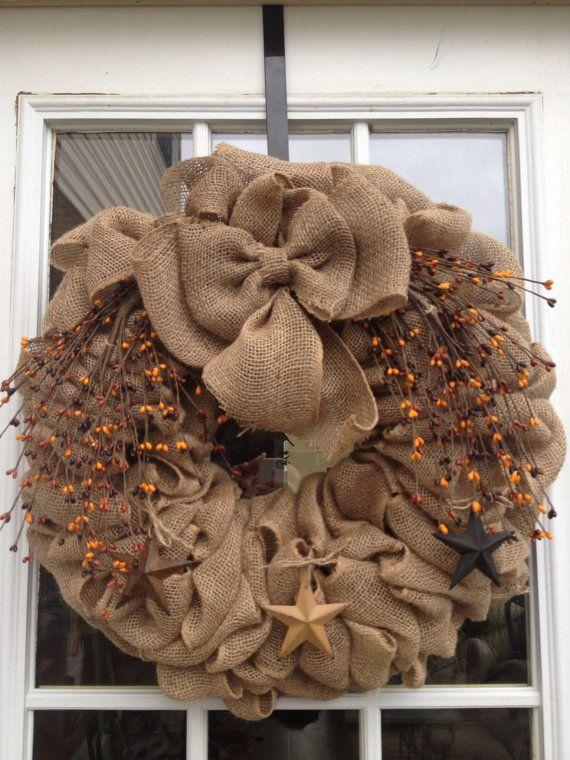 Burlap wreath ~ Primitive Wreath ~ Americana Wreath ~ Star ~ Pip berries ~ Decor Wreath ~ Door Wreath