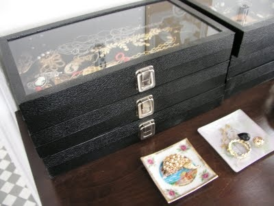 stacked display cases