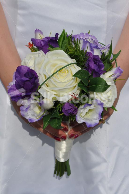 Rustic Inspired Artificial Purple Lisianthus Bridesmaid Bouquet w/ Ivory Roses