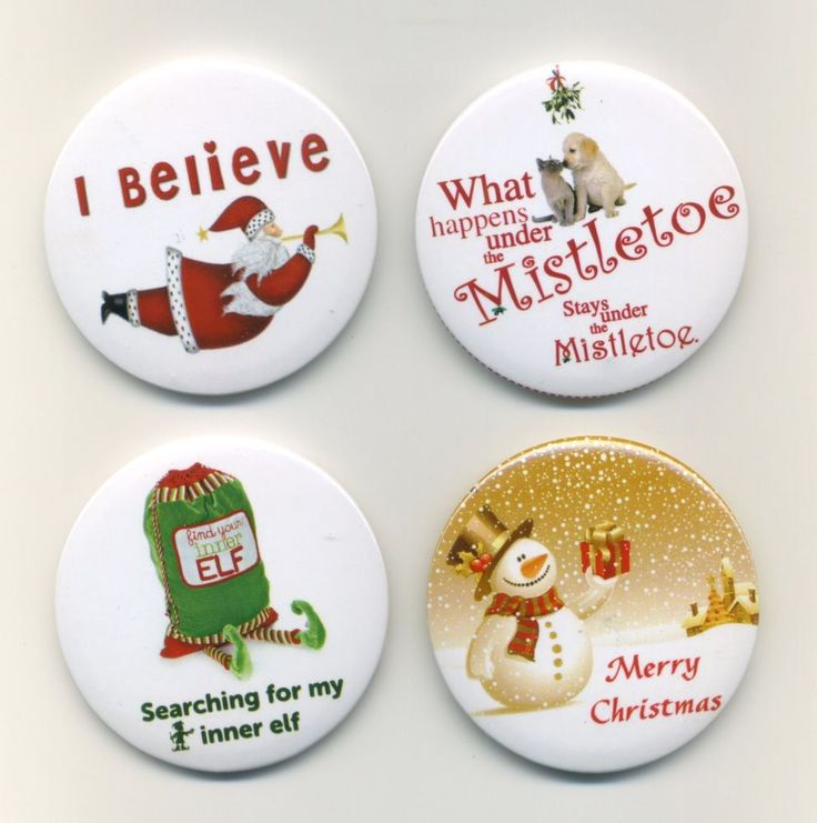 Cute Christmas Badge Pack x 4