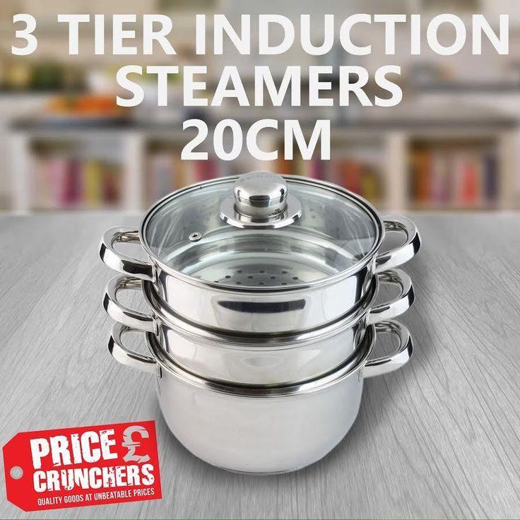 Kitchen 3 Tier Steamer Cooker Healthy Food Baby Cooking Steel INDUCTION HOB 20cm #Highlands