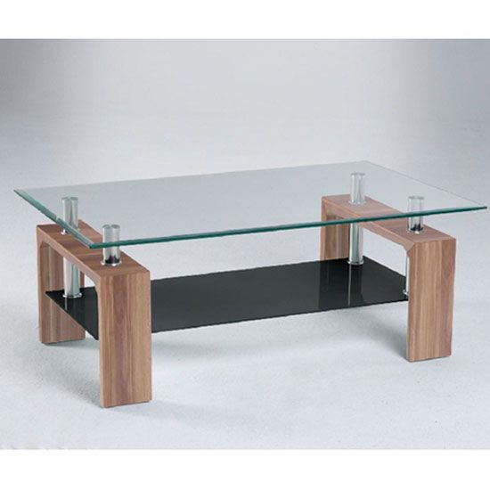 centro glass coffee table with black undershelf and walnut legs