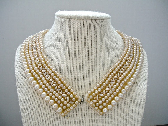 Vintage Faux Pearl Collar by vintagelittlebird on Etsy, $20.00