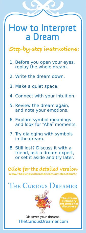 How to interpret a dream... Full version at http://www.thecuriousdreamer.com/articles/item/5/