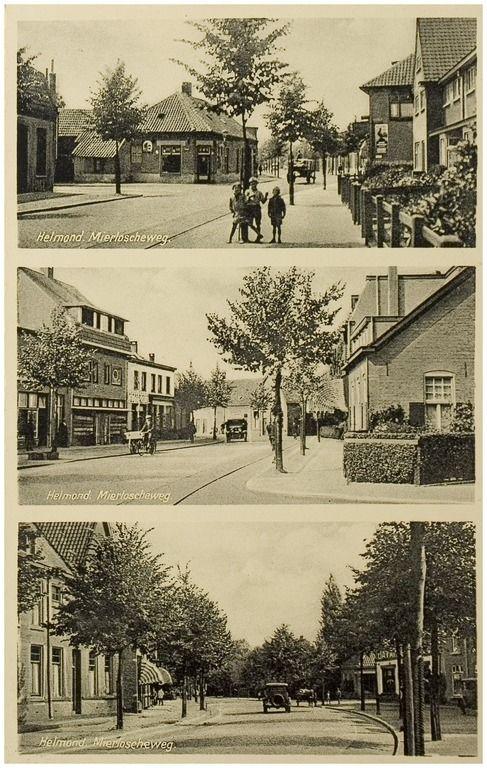 Mierloseweg, bovenste; Hoek 3e Haagstraat. Middelste: Hoek Oranjelaan. Onderste; Hoek 2e haagstraat