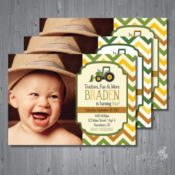 tractor Birthday Invitation, first birthday party, farm birthday, john deere party invitation printable, FREE thank you card, INSPIRED on Etsy, $15.00