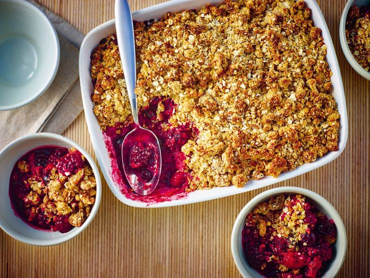 Mixed berry crumble with oats and almonds by Lorraine Pascale |YOU Magazine |