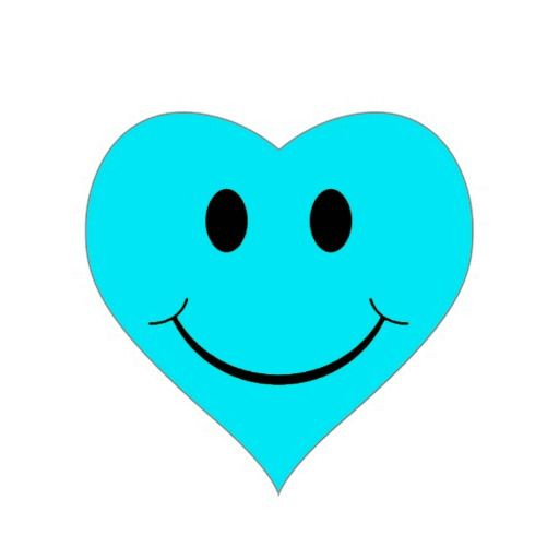 Light Blue Heart Smiley Face Stickers at Zazzle.