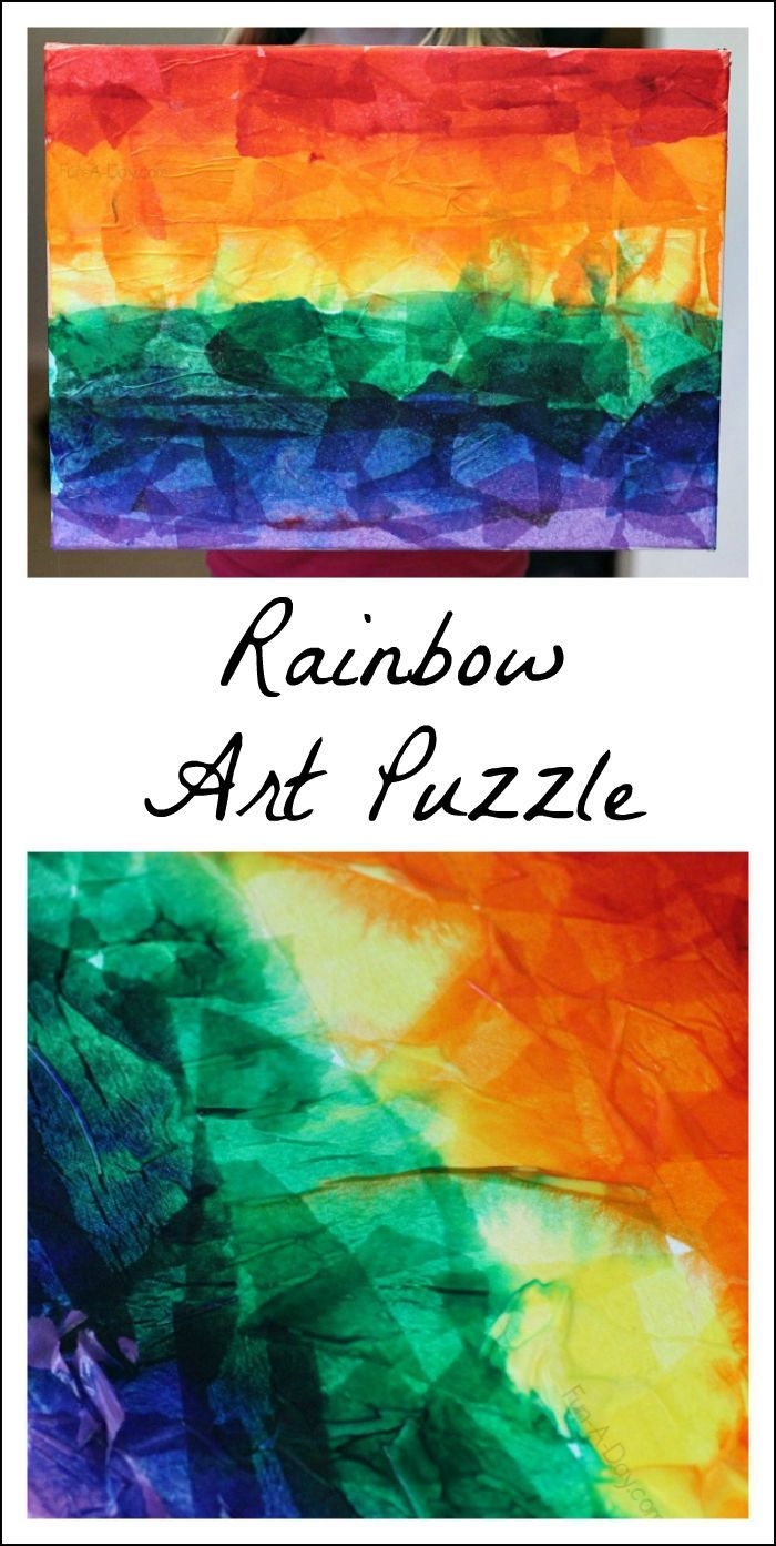 Beautiful rainbow art puzzle kids can make with a few simple materials
