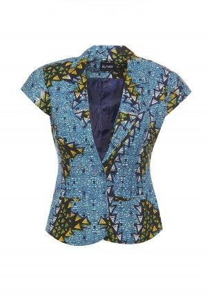Afrobot Crop Jacket   #MyAshoMarket #Ankara #AfricanPrint #Jacket #CropJacket #Blue #Turquoise #Afrobot