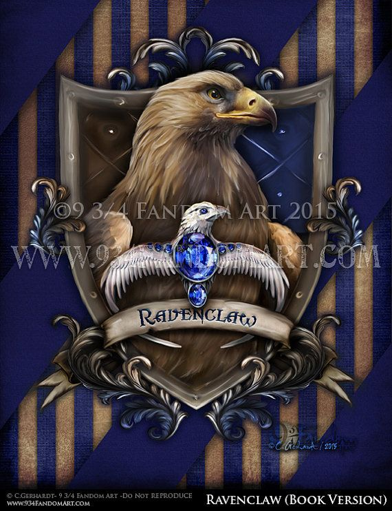 """""""Ravenclaw""""  the book version.  This version of Ravenclaw's Crest is of the houses true colors that is stated in J.K. Rowling's Harry Potter Books (not the movie). The colors on this Ravenclaw crest of bronze and blue."""