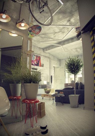 лофт,квартира,77м2,интерьер от русского дизайнера,индустриальный интерьер,кирпич в интерьере,британский флаг в интерьере,домашний офис,офис-чердак