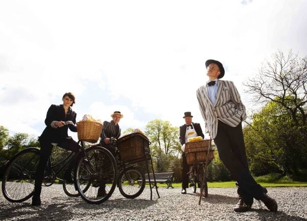 Charlene McKenna, Jim Wolfe, Graham Wilkinson' and Paul Kennedy in the Iveagh Gardens today launching the 20th Annual Bloomsday Messenger Bike Rally with Brennans Bread in aid of the Irish Youth Foundation.  The bike rally is inspired by the Cycle-ops episode of Ulysses.