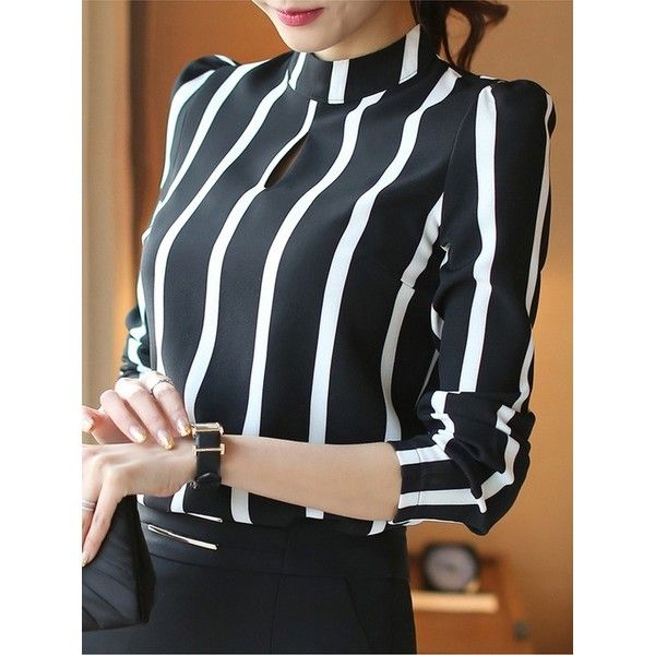 Black and White Striped Chiffon Shirt with Long Sleeves Plus Size ($23) ❤ liked on Polyvore featuring tops, plus size striped shirt, black and white stripe top, plus size womens shirts, black and white stripe shirt and plus size long sleeve shirts