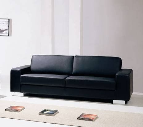 Entire Seating Area Is Leather And Back Sides Are Match Material Comfortable Black Sofa Ready For Your Living Room