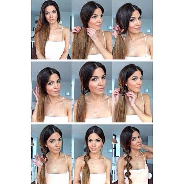 Outra dica de penteado. Esse parece uma trança. Amarre o cabelo de lado com aquelas liguinhas de silicone. Passe o rabo por dentro do cabelo, como na foto e amarre com outra liga. Siga fazendo isso até chegar na ponta.  #cabelo #penteado #dicadecabelo #casamento #penteadoDIY #penteadofacil #tranca #trança #moda #madrinha #fashion #hair