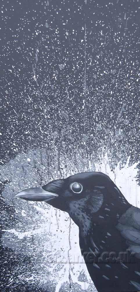 "Art portfolio of Ken Barker. Original crow painting on canvas ready to hang 12""x 24"" £150 Plus P+P"