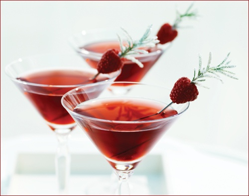 Redholidaydrinks_2 Raspberry and rosemary cocktail garnish, sprinkle with powered sugar