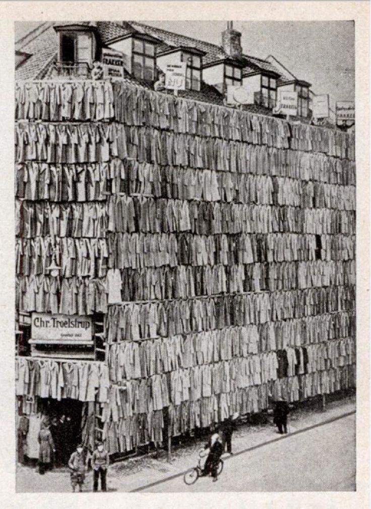 Coats coat coat store as novel sales scheme in Copenhagen, 1936