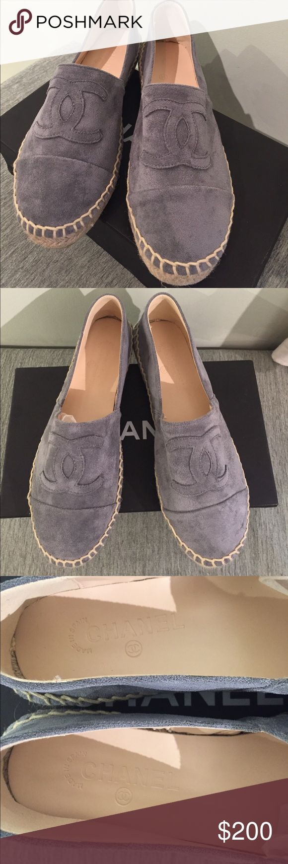 Chanel Espadrilles Beautiful suede like grey espadrilles. Soft and so comfy!  ❌ auth!  Marked a 40 but Fit like an 8-8.5 CHANEL Shoes Espadrilles