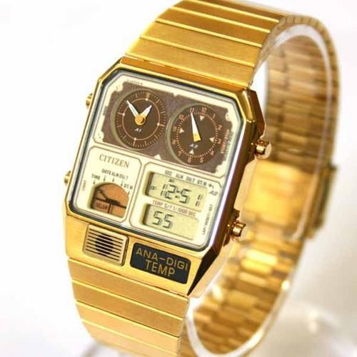 Citizen JG2002-53P Temperature Vintage Dual Time Analog Digital Gold Tone Watch