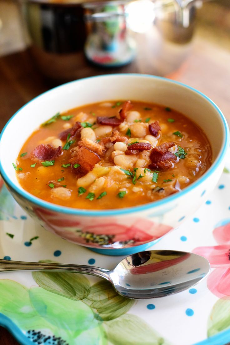 Pioneer Woman Bean with Bacon soup. (Very yummy, but also very salty! Don't add any salt if using chicken broth!)