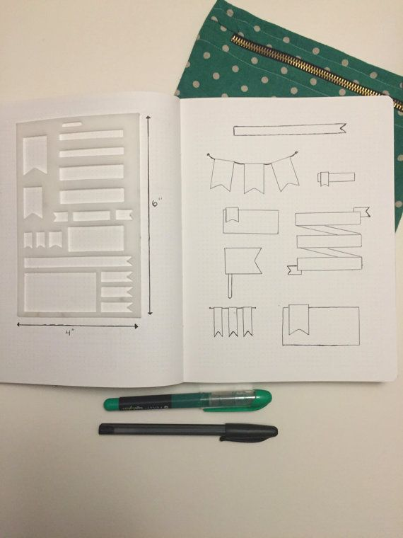 Banner Stencil for Bullet Journal by PaperPaperPlanning on Etsy