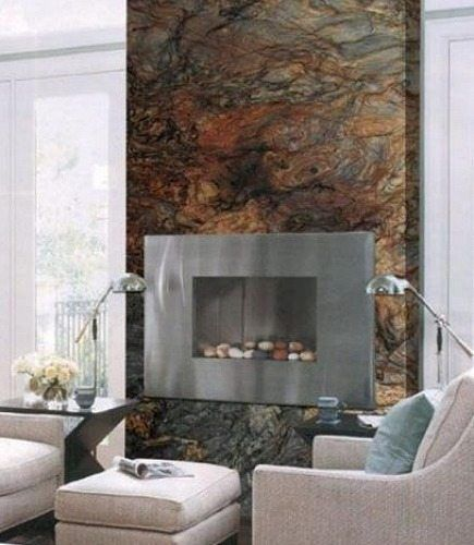 Fusion quartzite slab fireplace surround wall