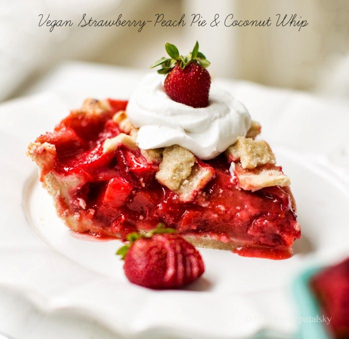 Vegan Strawberry-Peach Pie + Coconut Whip. #dessert #strawberries #pie #vegan