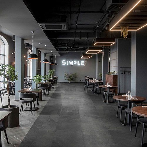 A Modern Restaurant Interior Featuring Charcoal Grey Slate