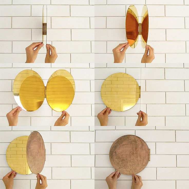 Brass mirror designed like a shell by Morie Nishimura (featured on Dezeen).  Square version also available.