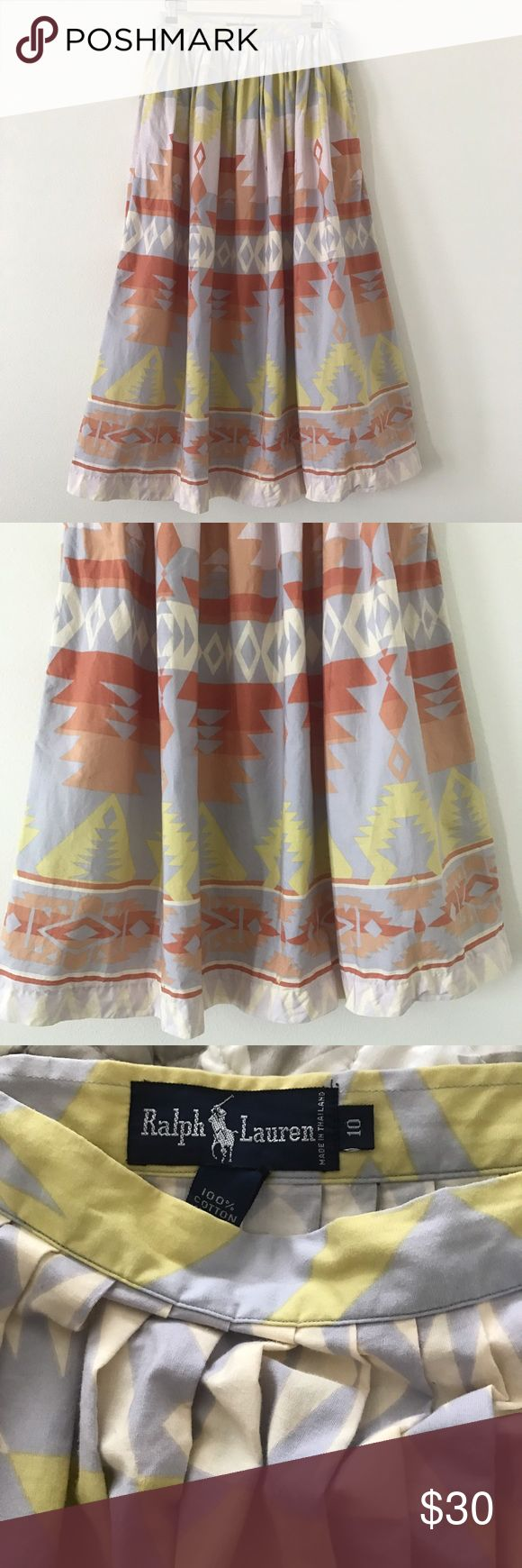 """Vintage Ralph Lauren Maxi Skirt Vintage Ralph Lauren maxi skirt with beautiful Aztec pattern in gorgeous colors. Pockets, side button closure. Size 10, approx measurements-waist is 28"""" and length is 36"""". A couple of pen sized dots and one tiny hole, but only noticeable when looking for faults. Ralph Lauren Skirts Maxi"""