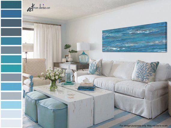 Peinture abstraite bleue et grise, impressions panoramiques – Art de mur de toile au-dessus du lit, décor au-dessus du divan, décor de mur de salle à manger, images de salle de séjour