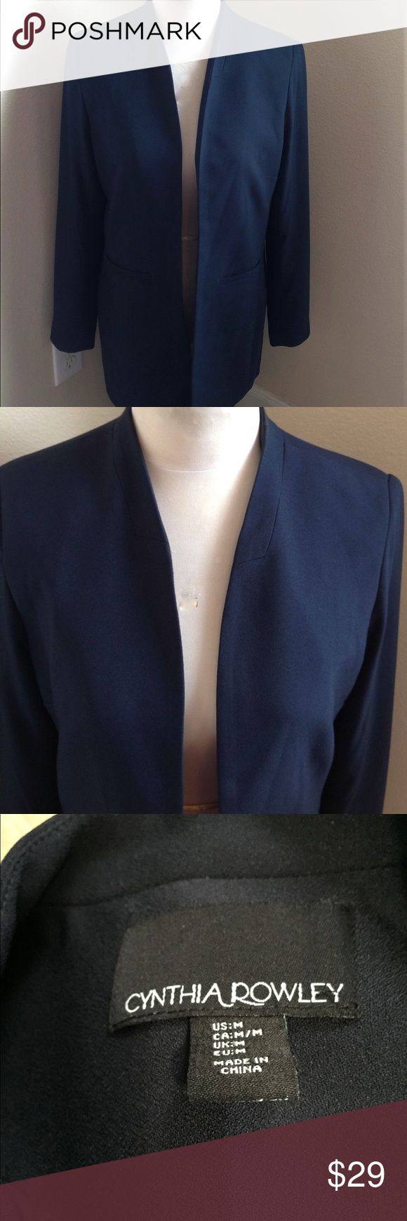 Cynthia Rowley Navy Collarless Blazer Super long, fully lined, collarless blazer; Polyester/Spandex. Cynthia Rowley Jackets & Coats Blazers