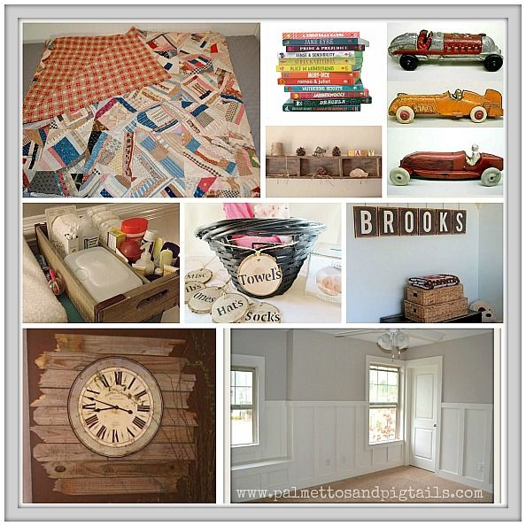 Vintage Baby Boy Nursery Reveal - Palmettos and Pigtails--really cute baby boys room--to grow into, as well
