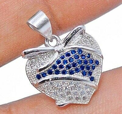 """925 Sterling Silver Oval Blue Sapphire White Topaz Pendant 18/"""" Chain Necklace"""