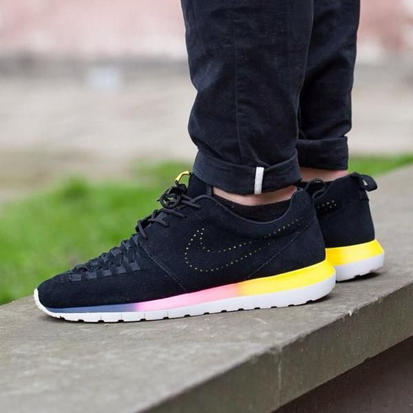 ... on foot look at the nike roshe run nm woven rainbow. sizes ...