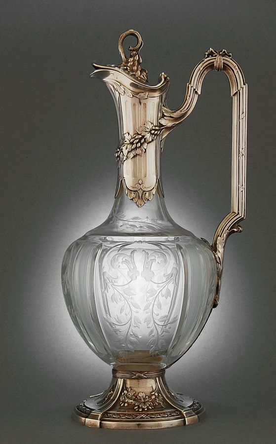 Etched Crystal, Silver-Mounted Claret Jug -- Paris 1870