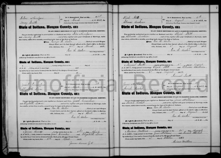 "Photo: Indiana marriage licenses. Credit: FamilySearch. Read more on the GenealogyBank blog: ""Genealogy 101: #14 Marriage Licenses"" https://blog.genealogybank.com/genealogy-101-14-marriage-licenses.html"