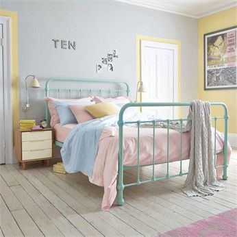 Feather & Black - Pastel colours are everywhere this spring. This duck egg Oliver bed is divine