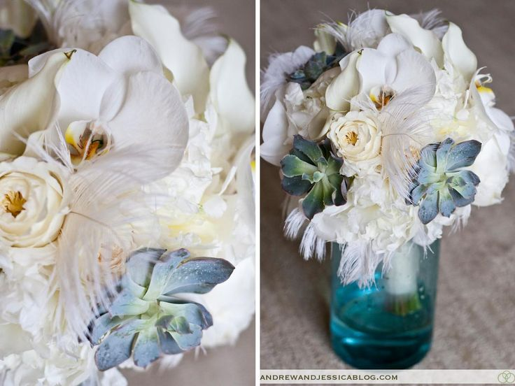 Lauren's bouquet featured gorgeous orchids, peonies, calla lilies, roses, succulents and fun, flirty feathers.