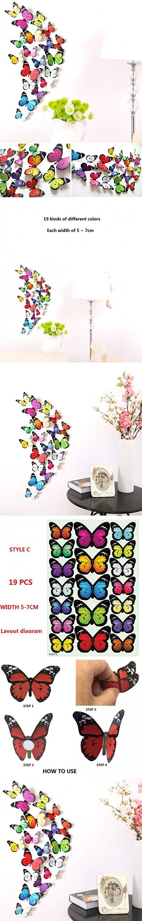 best 25 butterfly wall stickers ideas on pinterest butterfly amaonmA 19 pcs removable diy pvc 3d colorful butterfly wall sticker murals butterflies wall decals wall decorations art decor decal for nursery room