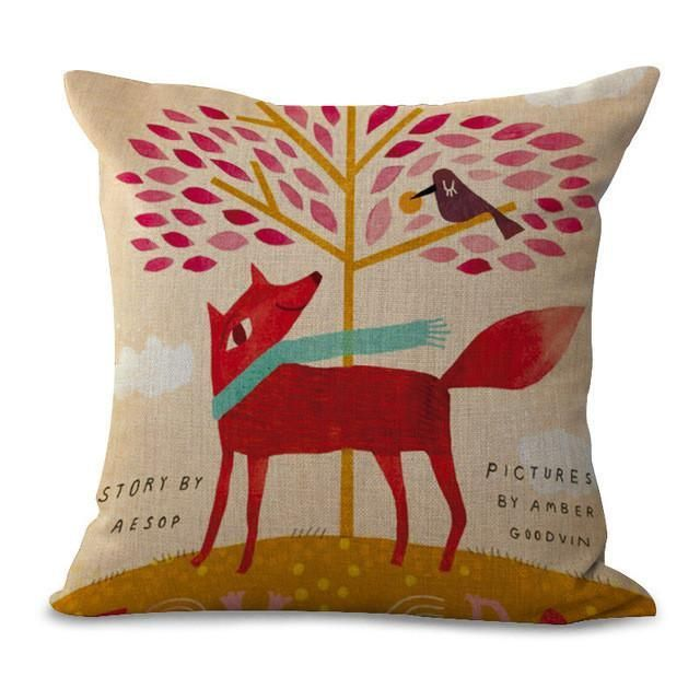 Cartoon Animal Cotton Embrace Pillow Case Fox Bay Window Bedroom By Pillow Case Office Chair Cushion Dorp Shipping