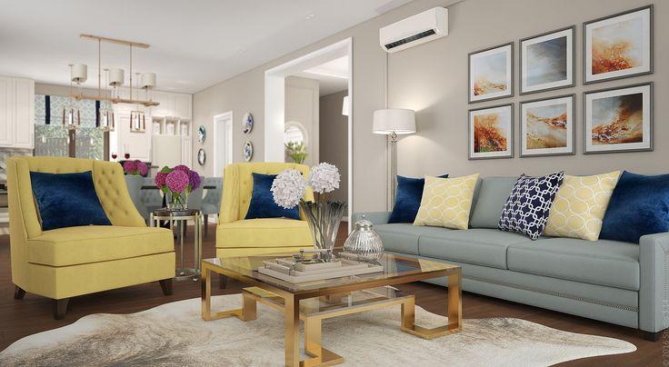 В обширной гостиной предусмотрены различные варианты освещения: потолочные споты и люстры, бра, торшеры.
