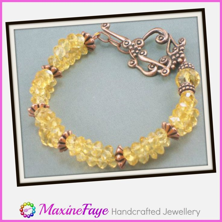 Faceted Citrine gemstone and copper bracelet.  This was ordered by a customer as a gift for her friend.  Contact me to arrange an order of your own.  https://www.maxinefaye.com.au/contact-maxinefaye/