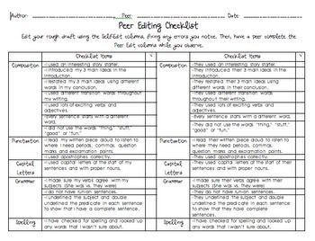 peer edit rubric for writing assignments