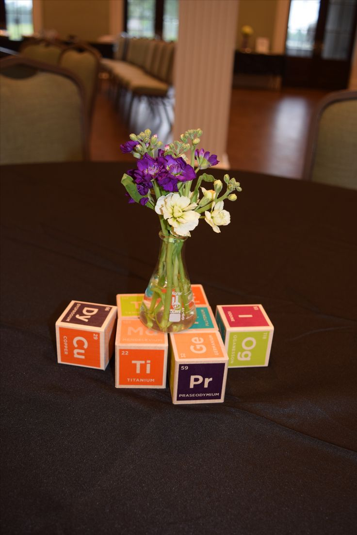27 best science space baby shower images on pinterest baby periodic table wooden blocks with glass beaker centerpiece gamestrikefo Choice Image